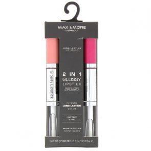 Max & More 2 in 1 Гланц за Устни и Червило Light Nude & Pink