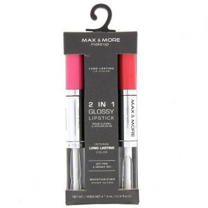 Max & More 2 in 1 Гланц за Устни и Червило Soft Pink & Vibrant Red