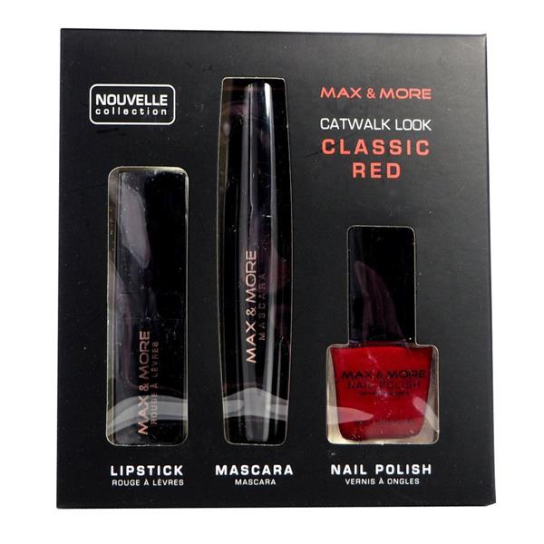 Max & More Catwalk Look Комплект Червило, Спирала и Лак за Нокти – Classic Red
