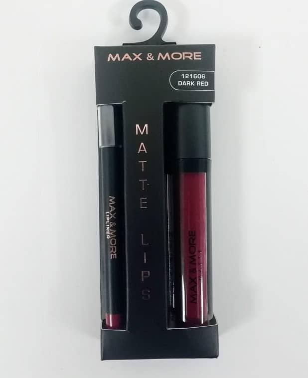 Max & More Matte Lips Комплект Молив за Устни и Червило – Dark Red