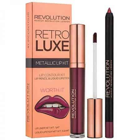 Revolution Retro Luxe Червило + Молив за Устни Metallic Lip Kit - Worth It