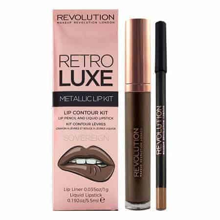 Revolution Retro Luxe Червило + Молив за Устни – Metallic Lip Kit